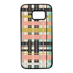 Plaid Pattern Samsung Galaxy S7 Black Seamless Case by linceazul