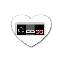 Video Game Controller 80s Rubber Coaster (heart)  by Valentinaart