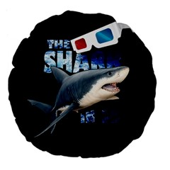 The Shark Movie Large 18  Premium Flano Round Cushions by Valentinaart