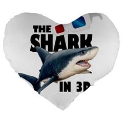 The Shark Movie Large 19  Premium Heart Shape Cushions by Valentinaart