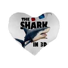 The Shark Movie Standard 16  Premium Flano Heart Shape Cushions by Valentinaart