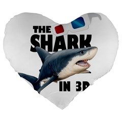 The Shark Movie Large 19  Premium Flano Heart Shape Cushions by Valentinaart