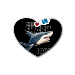 The Shark Movie Rubber Coaster (heart)  by Valentinaart