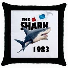 The Shark Movie Throw Pillow Case (black) by Valentinaart