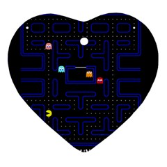 Pac Man Ornament (heart) by Valentinaart