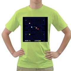 Pac Man Green T Shirt by Valentinaart