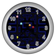 Pac Man Wall Clocks (silver)  by Valentinaart