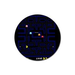 Pac Man Rubber Coaster (round)  by Valentinaart