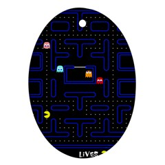 Pac Man Oval Ornament (two Sides) by Valentinaart