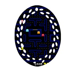 Pac Man Oval Filigree Ornament (two Sides) by Valentinaart