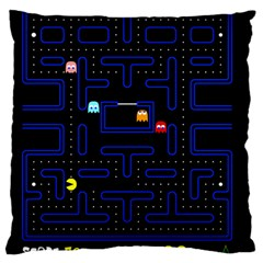 Pac Man Large Cushion Case (one Side) by Valentinaart