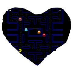 Pac Man Large 19  Premium Heart Shape Cushions by Valentinaart
