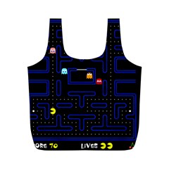 Pac Man Full Print Recycle Bags (m)  by Valentinaart