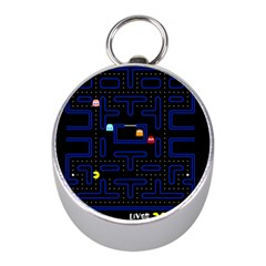 Pac Man Mini Silver Compasses by Valentinaart