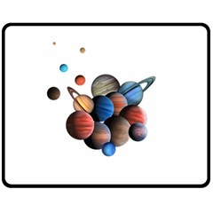Planets  Fleece Blanket (medium)  by Valentinaart