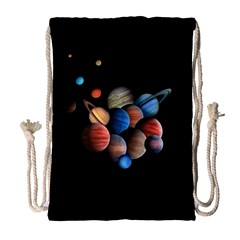 Planets  Drawstring Bag (large) by Valentinaart