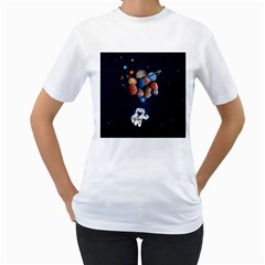 Planets  Women s T Shirt (white) (two Sided) by Valentinaart