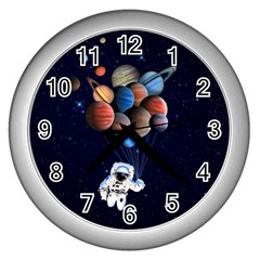 Planets  Wall Clocks (silver)  by Valentinaart