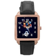 Planets  Rose Gold Leather Watch  by Valentinaart