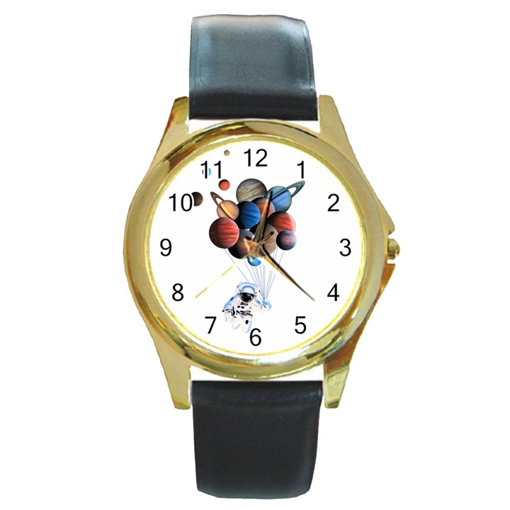 Planets  Round Gold Metal Watch