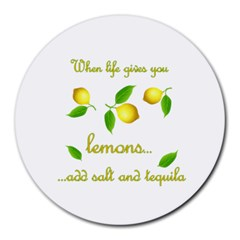When Life Gives You Lemons Round Mousepads by Valentinaart
