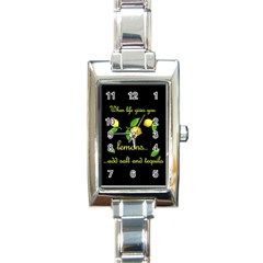 When Life Gives You Lemons Rectangle Italian Charm Watch by Valentinaart