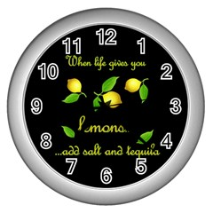 When Life Gives You Lemons Wall Clocks (silver)  by Valentinaart