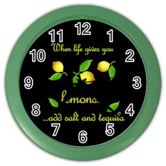 When Life Gives You Lemons Color Wall Clocks by Valentinaart