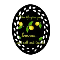 When Life Gives You Lemons Oval Filigree Ornament (two Sides) by Valentinaart