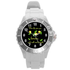 When Life Gives You Lemons Round Plastic Sport Watch (l) by Valentinaart