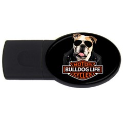 Bulldog Biker Usb Flash Drive Oval (4 Gb) by Valentinaart