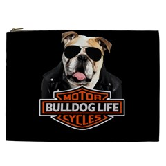 Bulldog Biker Cosmetic Bag (xxl)  by Valentinaart