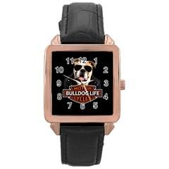 Bulldog Biker Rose Gold Leather Watch  by Valentinaart