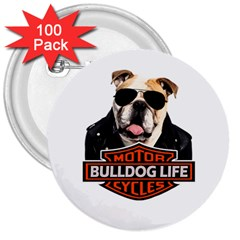 Bulldog Biker 3  Buttons (100 Pack)  by Valentinaart