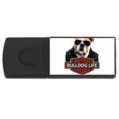 Bulldog Biker Rectangular Usb Flash Drive by Valentinaart