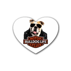 Bulldog Biker Heart Coaster (4 Pack)  by Valentinaart