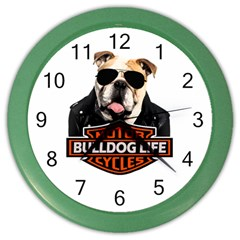 Bulldog Biker Color Wall Clocks by Valentinaart