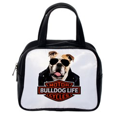 Bulldog Biker Classic Handbags (one Side) by Valentinaart
