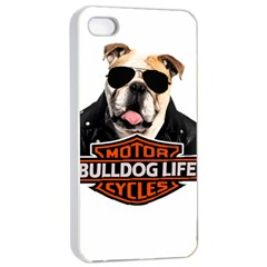 Bulldog Biker Apple Iphone 4/4s Seamless Case (white) by Valentinaart
