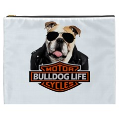 Bulldog Biker Cosmetic Bag (xxxl)  by Valentinaart