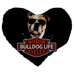 Bulldog Biker Large 19  Premium Heart Shape Cushions by Valentinaart