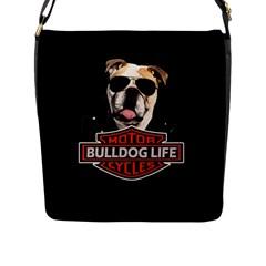 Bulldog Biker Flap Messenger Bag (l)  by Valentinaart