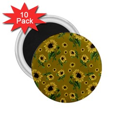 Sunflowers Pattern 2 25  Magnets (10 Pack)  by Valentinaart