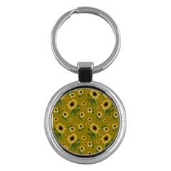 Sunflowers Pattern Key Chains (round)  by Valentinaart