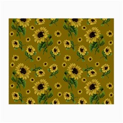 Sunflowers Pattern Small Glasses Cloth (2 Side) by Valentinaart