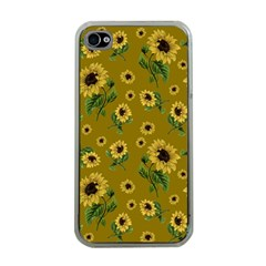 Sunflowers Pattern Apple Iphone 4 Case (clear) by Valentinaart