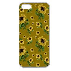 Sunflowers Pattern Apple Seamless Iphone 5 Case (clear) by Valentinaart