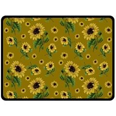 Sunflowers Pattern Double Sided Fleece Blanket (large)  by Valentinaart