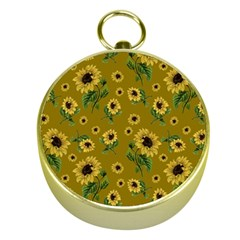 Sunflowers Pattern Gold Compasses by Valentinaart