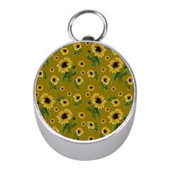 Sunflowers Pattern Mini Silver Compasses by Valentinaart